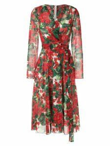 Dolce & Gabbana hydrangea printed dress - Red