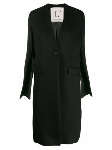 L'Autre Chose collarless slit sleeves coat - Black