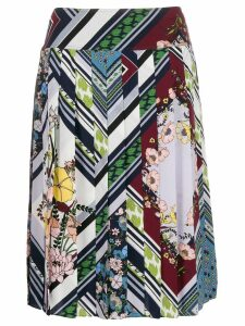 Tory Burch pleated floral-print skirt - Blue