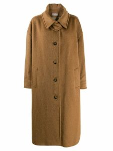 Alberto Biani oversized single-breasted coat - Brown