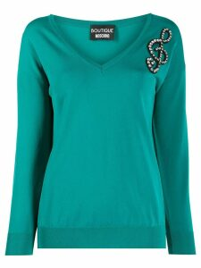 Boutique Moschino embellished music note jumper - Green