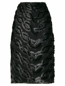 Erika Cavallini side-slit embellished skirt - Black