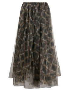 Brunello Cucinelli check-print chiffon skirt - Green