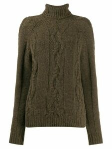 Holland & Holland cable-knit roll neck jumper - Brown