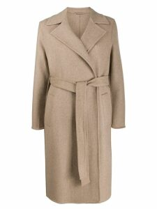 Closed belted straight coat - NEUTRALS