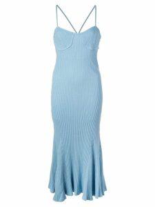 Callipygian ribbed knit midi dress - Blue