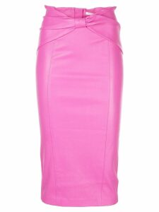 Veronica Beard Carlyn leather midi skirt - Pink