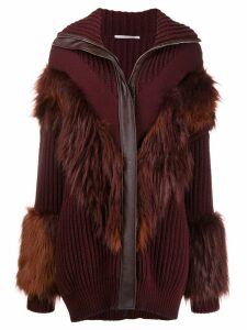 Stella McCartney faux fur trimmed cardi-coat - Red