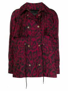 Just Cavalli leopard print pleat jacket - Red
