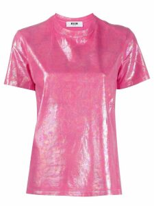 MSGM holographic effect T-shirt - Pink