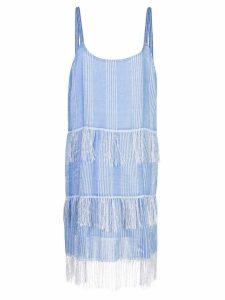 Lemlem Zinab fringed slip dress - Blue