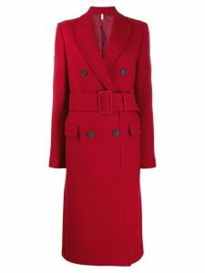 Helmut Lang double-breasted belted coat - Red