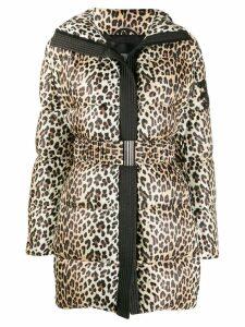 Ermanno Scervino leopard print padded coat - NEUTRALS