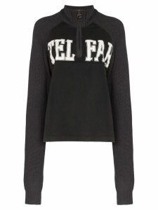 Telfar logo half zip knit sweatshirt - Black