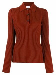 Salvatore Ferragamo ribbed long-sleeved knitted polo shirt - Red