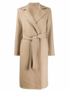 Closed belted mid-length coat - Neutrals