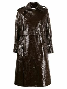 S.W.O.R.D 6.6.44 croc effect belted coat - Brown