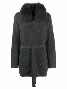 Max & Moi fur collar cardigan - Grey