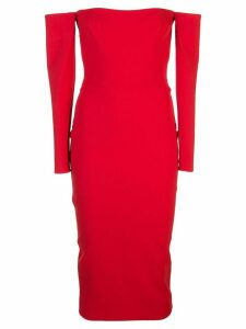 Alex Perry off the shoulder midi dress - Red