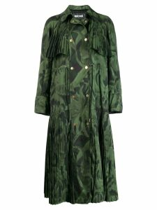 Just Cavalli leaf print pleated coat - Green