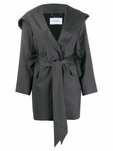 Salvatore Ferragamo tie waist silk coat - Grey