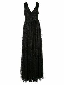 Zac Zac Posen metallic draped long gown - Black