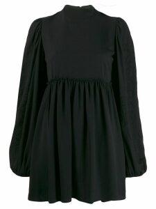 Wandering high neck flared mini dress - Black