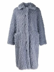 STAND STUDIO Leah shearling coat - Blue