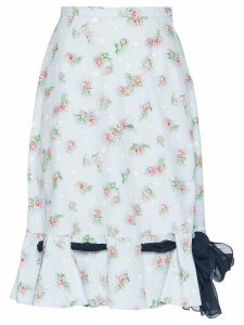 Miu Miu floral print ribbon skirt - Blue