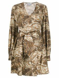 Ganni graphic print wrap dress - Brown