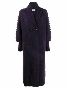 Temperley London bobble detail long cardi-coat - PURPLE