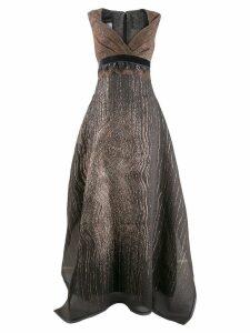 Talbot Runhof metallic effect long dress - Grey
