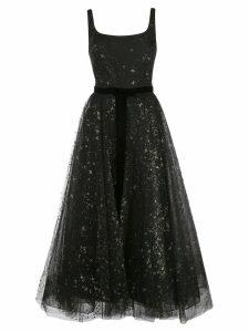 Marchesa Notte star glitter tulle tea length dress - Black