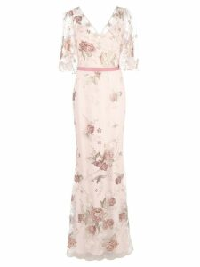 Marchesa Notte floral embroidered mermaid gown - Pink