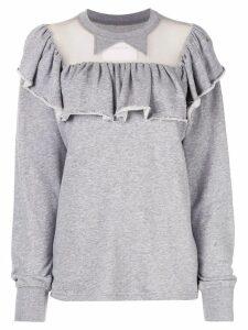 pushBUTTON sheer panel sweatshirt - Grey