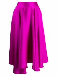 Styland ruffle asymmetric midi skirt - Purple