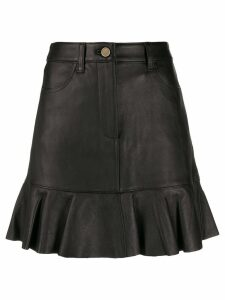 Michael Michael Kors ruffle hem leather skirt - 001 BLACK