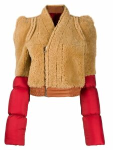 Rick Owens contrast shearling coat - Red