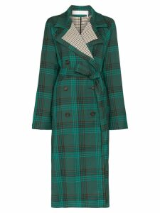 See By Chloé double-breasted check trench coat - Green