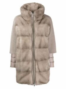 Moorer panelled faux fur coat - NEUTRALS