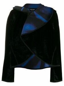 Giorgio Armani draped collar velvet jacket - Black
