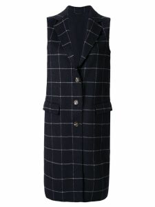 CK Calvin Klein check double weave long coat - Blue