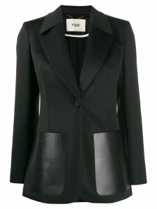 Fendi oversized leather pockets blazer - Black