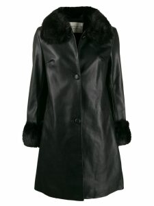 Charlotte Simone faux fur trim coat - Black