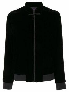 SHANGHAI TANG mandarin collar bomber jacket - Black