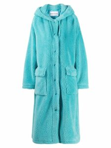 Stand faux shearling coat - Blue