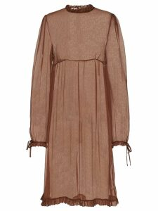 Miu Miu sheer frilled chiffon dress - Brown