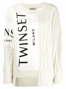 Twin-Set contrast knit jumper - White