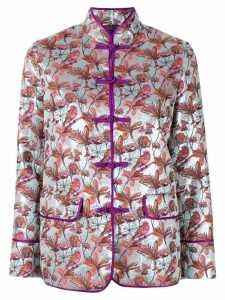 Shanghai Tang floral bird jacquard Chinese jacket - Blue