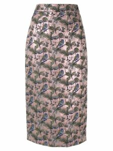 Shanghai Tang floral bird jacquard pencil skirt - Pink